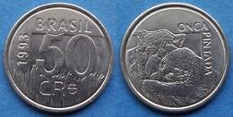 """BRAZIL - 50 Cruzeiros Reais 1993 """"mother Jaguar & Cub"""" KM# 629 - Edelweiss Coins - Brésil"""