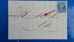 Variété Petite Cigarette A La Bouche Napoleon N° 14 Sur Lettre De Thann Pour Lille 1862 - Marcofilia (sobres)