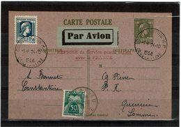 COMP2 - ALGERIE EP CP MARIANNE D'ALGER + COMPL.TS OBL. CONSTANTINE24/10/1944 RERISE DU S.CE POSTAL ARIEN - Algeria (1924-1962)