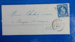Variete Napoleon N° 14 Tache Blanche Derrière La Nuque Sur Lettre De  Angouleme 1861 - Marcophilie (Lettres)