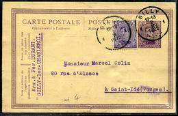 BELGIQUE - ENTIER POSTAL CP TYPE TP N° 139 OBL GILLY LE 2/2/1922 POUR LA FRANCE - TB - Postcards [1871-09]