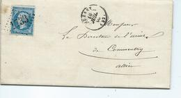 N° YT 22 Sur Lettre De Gueret Pour Commentry Allier 1863 - Marcophilie (Lettres)