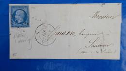 Napoleon N° 14  Bleu Sur Lilas Signé Roumet  Sur Lettre De Paris Pour Saumur - 1849-1876: Klassik