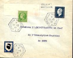 France. L. Croiseur Montcalm (type 1) + Griffe Idem > Sète  1947 - Marcophilie (Lettres)