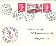 France. L. Bâtiment De Ligne Richelieu (type 1, 1 Astérisque En +) > Liverpool 1957 - Marcophilie (Lettres)