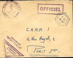 France. L. Croiseur Montcalm (type 1) + Idem Encadré  + Le Commandant > Paris 1953 - Marcophilie (Lettres)