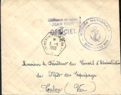 France. L. Bâtiment De Ligne Jean Bart + Griffe Idem > Toulon 1950 - Marcophilie (Lettres)