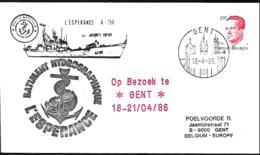 France. L. Bâtiment Hydrographique L'Espérance En Visite à Gand (Gent) > Gent  1986 - Marcophilie (Lettres)