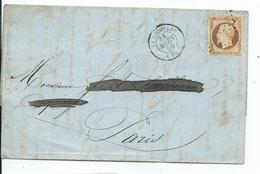 N° YT 16 Sur Lettre De La Rochelle Pour Paris  1856 - Marcophilie (Lettres)