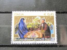 *ITALIA* USATI 2004 - NATALE PRESEPE - SASSONE 2788 - LUSSO/FIOR DI STAMPA - 6. 1946-.. Repubblica