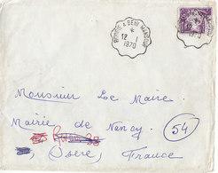 Cachet Convoyeur Bougie à Beni Mansour Sur Lettre De 1970 Pour La France - Lettres & Documents