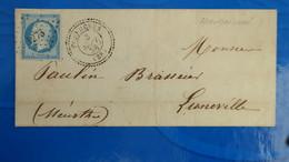Lettre De Haudricourt 1858 Postée A Feuquieres Oise Pour Luneville  PC 1273 - Postmark Collection (Covers)