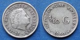 NETHERLANDS ANTILLES - Silver 1/10 Gulden 1960 KM# 3 Juliana - Edelweiss Coins - Netherland Antilles