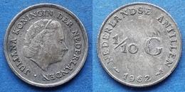 NETHERLANDS ANTILLES - Silver 1/10 Gulden 1962 KM# 3 Juliana - Edelweiss Coins - Netherland Antilles