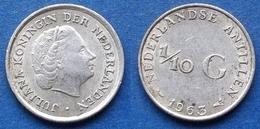 NETHERLANDS ANTILLES - Silver 1/10 Gulden 1963 KM# 3 Juliana - Edelweiss Coins - Netherland Antilles