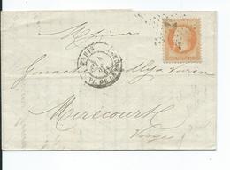 N° YT 31 Sur Lettre De Paris Pour Mirecourt Vosges Oblitération étoile 1868 - Marcophilie (Lettres)