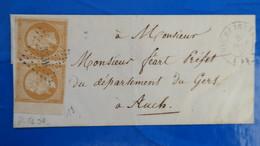 Paire Napoleon N° 13 Nuance Orange Sur Lettre De Vic Fezensac Gers 1857 Pour Auch - Marcophilie (Lettres)