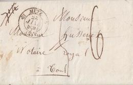 Lettre De Metz (dateur T 12) Du 23 Janv 1830 Pour Toul, Taxe 6 Décimes Au Tampon En Port Du (4annulée + Pesée 7 1/2) - Marcophilie (Lettres)