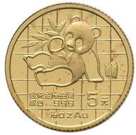 China - Volksrepublik - Anlagegold: 5 Yuan 1989, Goldpanda, KM# 183, Friedberg B8. 1,56 G (1/20 OZ), - Chine