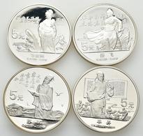 China - Volksrepublik: Lot 4 X 5 Yuan 1988, Serie Chinesische Kultur. Su Shi KM# 207; Li Qingzhao, K - Chine