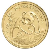 China - Volksrepublik - Anlagegold: 5 Yuan 1990, Goldpanda, KM# 268, Friedberg B8. 1,56 G (1/20 OZ), - Chine