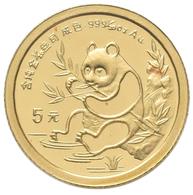 China - Volksrepublik - Anlagegold: 5 Yuan 1991, Goldpanda, KM# 346, Friedberg B8. 1,56 G (1/20 OZ), - Chine