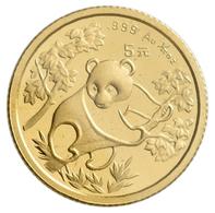 China - Volksrepublik - Anlagegold: 5 Yuan 1992, Goldpanda, KM# 391, Friedberg B8. 1,56 G (1/20 OZ), - Chine