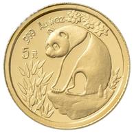 China - Volksrepublik - Anlagegold: 5 Yuan 1993, Goldpanda, KM# 473, Friedberg B8. 1,56 G (1/20 OZ), - Chine