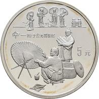 China - Volksrepublik: Lot 4 X 5 Yuan 1993, Serie Erfindungen Und Entdeckungen (Invention + Discover - Chine