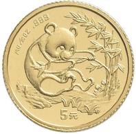 China - Volksrepublik - Anlagegold: 5 Yuan 1994, Goldpanda, KM# 611, Friedberg B8. 1,56 G (1/20 OZ), - Chine