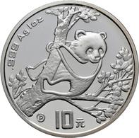 China - Volksrepublik: 10 Yuan 1994 P, Silberpanda Auf Baum. 31,1 G (1 OZ) 999/1000 Silber, KM# 616, - Chine