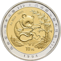 China - Volksrepublik - Anlagegold: 10 Yuan 1994 Panda Aus Bimetall. 1/10 OZ 999/1000 Gold Pille Und - Chine