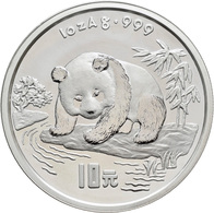 China - Volksrepublik: 10 Yuan 1995, Silberpanda Am Fluß. 31,1 G (1 OZ) 999/1000 Silber, KM# 723, Oh - Chine