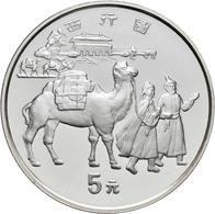 China - Volksrepublik: Lot 3 X 5 Yuan 1995, Serie Seidenstraße (Silk Road): Seidenspinnerei KM# 866; - Chine