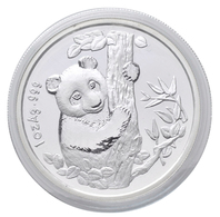 China - Volksrepublik: Medaille 1 OZ Silberpanda 1996 Anlässlich Der Münzenmesse In München (1996 Mu - Chine