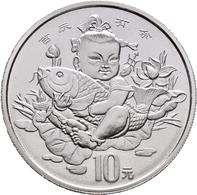 China - Volksrepublik: 10 Yuan 1997, Chinesische Segenszeichen / Lucky Coin: Kind Mit Karpfen Piedfo - Chine
