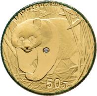 China - Volksrepublik - Anlagegold: Panda Diamond Set: 4-Münzen Set Goldpanda 2002: 1/10 OZ + 1/4 OZ - Chine