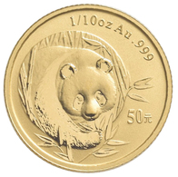 China - Volksrepublik - Anlagegold: 50 Yuan 2003, Goldpanda, KM# 1469, Friedberg B17. 3,11 G (1/10 O - Chine