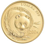 China - Volksrepublik - Anlagegold: 200 Yuan 2003, Goldpanda, KM# 1472, Friedberg B15. 15,55 G (1/2 - Chine