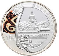 China - Volksrepublik: Set 4 X 10 Yuan 2008, Olympia Beijing, Silber, Teilcoloriert, Mit Zertifikate - Chine