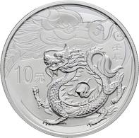 China - Volksrepublik: Set 2 Münzen 2012, Jahr Des Drachen: 2 X 10 Yuan 1 OZ 999/1000 Silber. 1x Aus - Chine