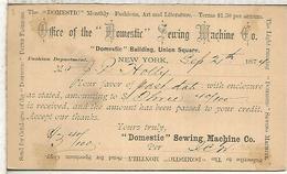 ESTADOS UNIDOS USA ENTERO POSTAL 1874 MAQUINAS DE COSER SOMESTIC SEWING MACHINE - Textiles