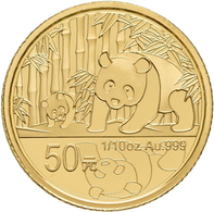 China - Volksrepublik - Anlagegold: Set 2 Münzen 2012, 30 Jahre Panda: 3 Yuan 1/4 OZ Silber + 50 Yua - Chine