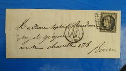 Ceres N° 3 Obliteration Grille Sur Lettre De Paris Juin 1849 Pour Rouen Voir Photos - 1849-1876: Klassik