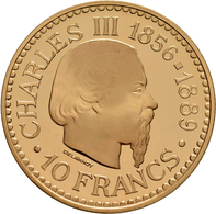 Monaco - Anlagegold: Rainier III. 1949-2005: 10 Francs 1966, 100 Jahre Monte Carlo. Probe (Essai) Vo - Monaco