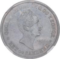 Norwegen: Oskar I. 1844-1859: 24 Skilling 1845, KM# 315.1, In NGC-Holder AU Details, Rev. Damage, Wu - Norvège