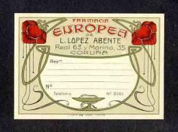 Etiquette De Pharmacie: Farmacia Europea. Art Nouveau (9,5 X 7 Cms) (Ref.80230) - Other Collections
