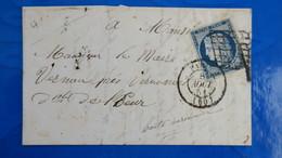 Ceres N° 4 Obliteration Grille Sur Lettre De Paris Aout 1851 Pour Vernon - Postmark Collection (Covers)