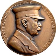 Medaillen Deutschland: Zeppelin: Bronzemedaille 1924 Von Mayer & Wilhelm, Stuttgart, Auf Die Amerika - Allemagne