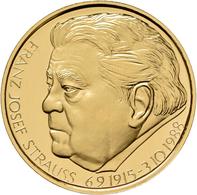Medaillen Deutschland - Personen: Franz Josef Strauß, Gedenkmedaille Aus 999/1000 Feingold. 17,5 G, - Allemagne